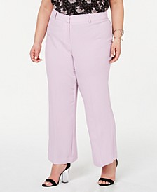Plus Size Textured Crepe Mini Kick Flare Pants