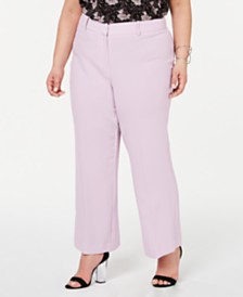 1.STATE Plus Size Textured Crepe Mini Kick Flare Pants