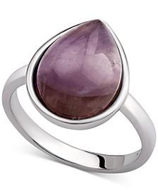 Carnelian Teardrop Bezel Statement Ring (2-1/2 ct. t.w.) in Sterling Silver (Also available in Amethyst, Aqua Quartz & Labradorite)