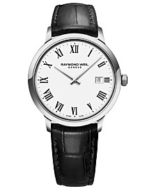 RAYMOND WEIL Men's Swiss Toccata Black Leather Strap Watch 39mm