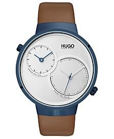 HUGO Men's #Travel Brown Leather Strap Watch 42mm