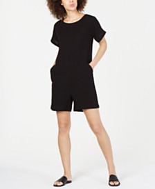Eileen Fisher Organic Cotton Crinkle Romper, Regular & Petite