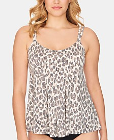 Swim Solutions Wild Thing Draped Tankini Top, Created For Macy's