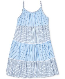 Polo Ralph Lauren Big Girls Tiered Striped Cotton Dress