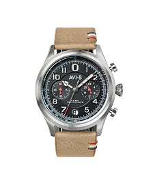 AVI-8 Men's Japanese Quartz Chronograph FlyBoy Lafayette, AV-4054-02, Brown Leather Strap Watch 42mm