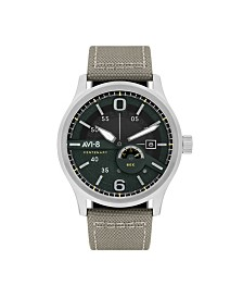 AVI-8 Men's Japanese Automatic FlyBoy Centenary 1980's, AV-4061-01, Grey Cordura Leather Strap Watch 43mm