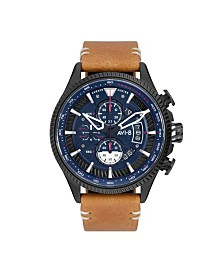 AVI-8 Men's Japanese Quartz Chronograph Hawker Hunter Avon Edition, AV-4064-01, Brown Leather Strap Watch 45mm