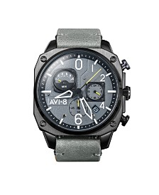 AVI-8 Men's Japanese Quartz Chronograph Hawker Hunter Retrograde Edition, AV-4052-03, Grey Leather Strap Watch 45mm