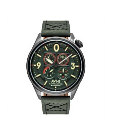AVI-8 Men's Japanese Quartz Lancaster Bomber Cockpit Edition, AV-4050-04, Green Leather Strap Watch 42mm