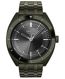 HUGO Men's #Style Olive Stainless Steel Bracelet Watch 42mm