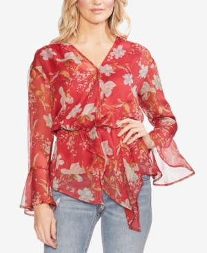 Vince Camuto Tops DRAPED FLORAL-PRINT BLOUSE