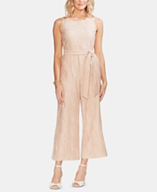 Vince Camuto Striped Lace Belted Jumpsuit