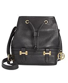 Giani Bernini Pebble Leather Bridle Bucket Bag, Created for Macy's