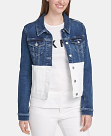 DKNY Colorblocked Denim Trucker Jacket