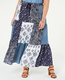 Style & Co Plus Size Bandana Maxi Skirt, Created for Macy's
