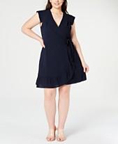 9fab92fe6a9 Monteau Juniors  Trendy Plus Size Faux-Wrap Dress