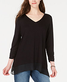 Style & Co V-Neck Chiffon-Hem Top, Created for Macy's