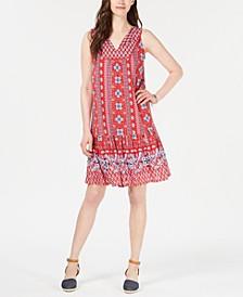 Geo Medley Printed Flounce-Hem Dress, Created for Macy's