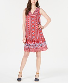 Style & Co Petite Geo-Print Flounce Dress, Created for Macy's