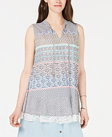 Printed Lace-Trim Top, Created for Macy's
