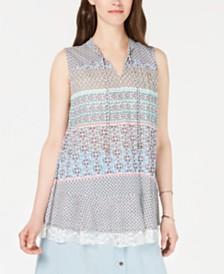 Style & Co Printed Lace-Trim Top, Created for Macy's