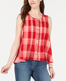 Style & Co Petite Summer Check Cotton Button-Front Top, Created for Macy's