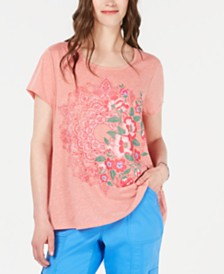 Style & Co Paisley-Print T-Shirt, Created for Macy's