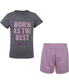 Nike Little Girls 2-Pc. Graphic-Print T-Shirt & Shorts Set