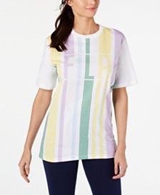 Fila Dulce Cotton Striped Logo T-Shirt