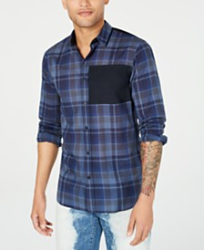 A|X Armani Exchange Men's Stretch Colorblocked Tartan Shirt