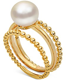 3-Pc. Set Cultured Freshwater Pearl (8-1/2mm) Stack Rings in 14k Gold-Plated Sterling Silver