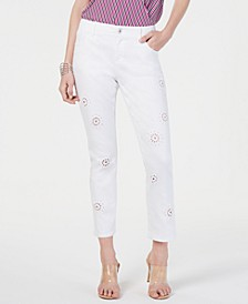 INC Eyelet Cropped Curvy-Fit Boyfriend Jeans, Created for Macy's