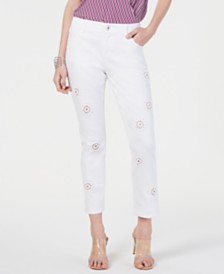 I.N.C. Eyelet Cropped Boyfriend Jeans, Created for Macy's