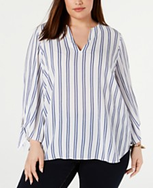 MICHAEL Michael Kors Plus Size Striped Tie-Sleeve Top