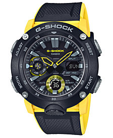 G-Shock Men's Analog-Digital Black & Yellow Resin Strap Watch 48.7mm