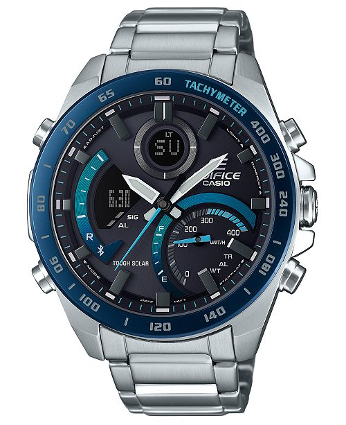 G-Shock Men's Analog-Digital Edifice Silver-Tone Resin Bracelet Watch 48mm