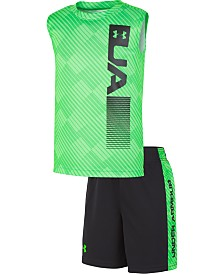 Under Armour Little Boys 2-Pc. Vertical Logo Tank Top & Shorts Set