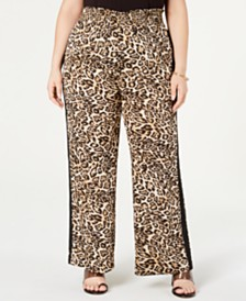 I.N.C. Plus Size Smocked-Waist Animal-Print Pants, Created for Macy's