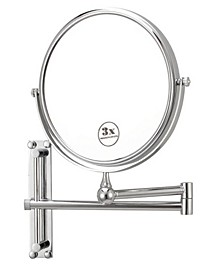 Glimmer Round Wall-Mounted Double Face 3x Makeup Mirror