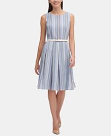 Tommy Hilfiger Petite Crinkle-Striped Belted Fit & Flare Dress