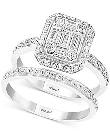 EFFY® Bridal Diamond Baguette Cluster Bridal Set (7/8 ct. t.w.) in 14k White Gold