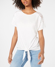 BCX Juniors' Lace-Trim Tie-Hem Top