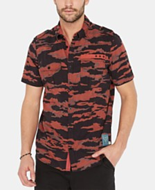 Buffalo David Bitton Men's Soovinc-X Regular-Fit Stretch Camouflage Utility Shirt
