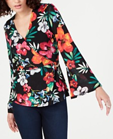Thalia Sodi Tropical-Print Surplice Blouse, Created for Macy's