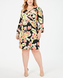 JM Collection Plus & Petite Plus Printed Sheath Dress, Created for Macy's