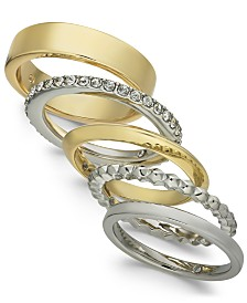 I.N.C. Two-Tone 5-Pc. Set Stackable Fashion Rings, Created for Macy's