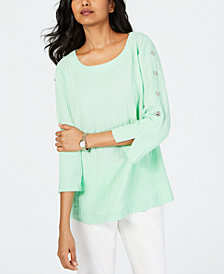 JM Collection Textured Button-Trim Top, Created for Macy's
