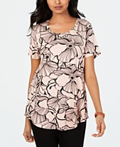 a53bfebafb2 JM Collection Printed Scoop-Neck Top