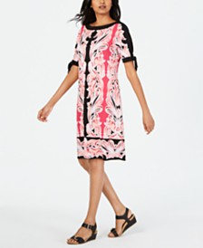 JM Collection Printed Tie-Sleeve Sheath Dress, Created for Macy's