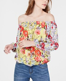 I.N.C. Mixed-Print Off-The-Shoulder Top, Created for Macy's